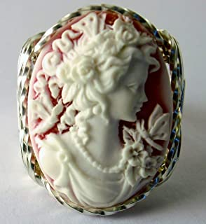 .925 Sterling Silver Red Grecian Goddess Butterflies Large Cameo Ring