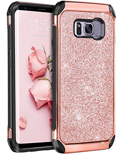BENTOBEN Coque Samsung S8, Coque Galaxy S8, Etui Housse Protection Antichoc Paillettée Brillante Durable Résistante 2 en 1 Hybride PC Dur TPU Souple Coque pour Samsung Galaxy S8 Femme Fille, Or Rose