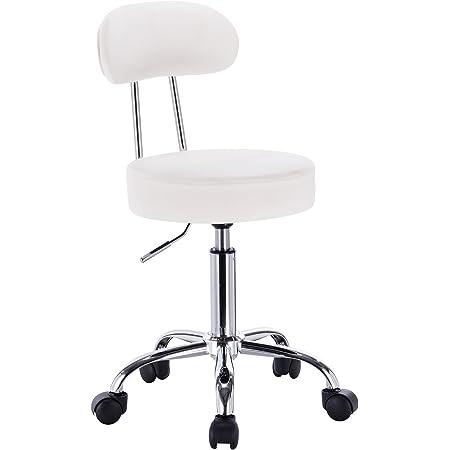 WOLTU® BH34ws-1 Tabouret de Bureau Tabouret à roulettes avec Dossier,Chaise pivotante Chaise de Bureau Hauteur réglable,Blanc