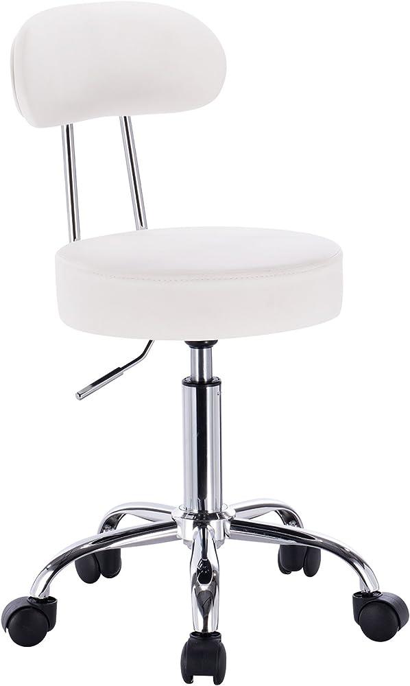 Woltu, sedia da scrivania, sgabello per ufficio,in similpelle e acciaio cromato BH34ws-1