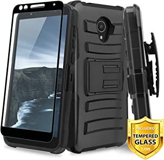 TJS Case for Alcatel Avalon V 5059S/Alcatel 1X Evolve/Alcatel IdealXtra 5059R/Alcatel TCL LX A502DL with [Full Coverage Tempered Glass Screen Protector] Belt Clip Holster Kickstand Phone Cover (Black)
