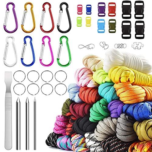 Paracord Set, Paracord 550 Nylonseil 26 Farben mit Schnallen in 16 verschiedenen Größen und Zeltschirmseil-Kombinations-Bastelset, zur Herstellung von Armbändern, Schlüsselbändern, Hundehalsbändern