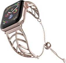 UooMoo Women Bracelet Compatible Apple Watch Band 38mm/40mm/42mm/44mm, Ladies Girls Stainless Steel Metal Strap Jewelry Wristband Bangle Chain Compatible Apple iWatch 1 2 3 4 5