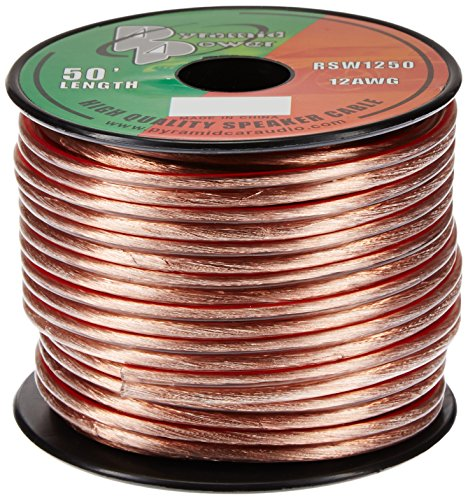 50ft 12 Gauge Speaker Wire - Copper Cable in Spool for Connecting Audio Stereo to Amplifier, Surround Sound System, TV Home Theater and Car Stereo - Pyramid RSW1250
