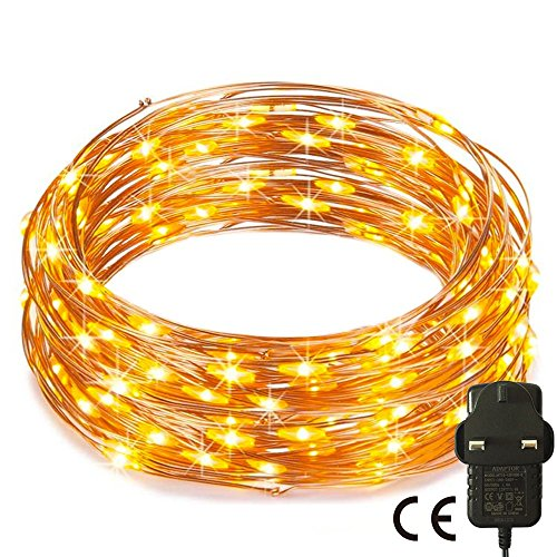 RcStarry(TM){240LED 80Ft}Led String Lights,240 LED Starry String Lights on 80Ft Copper Wire + Power Adapter for Christmas, Weddings, Parties(Warm White)