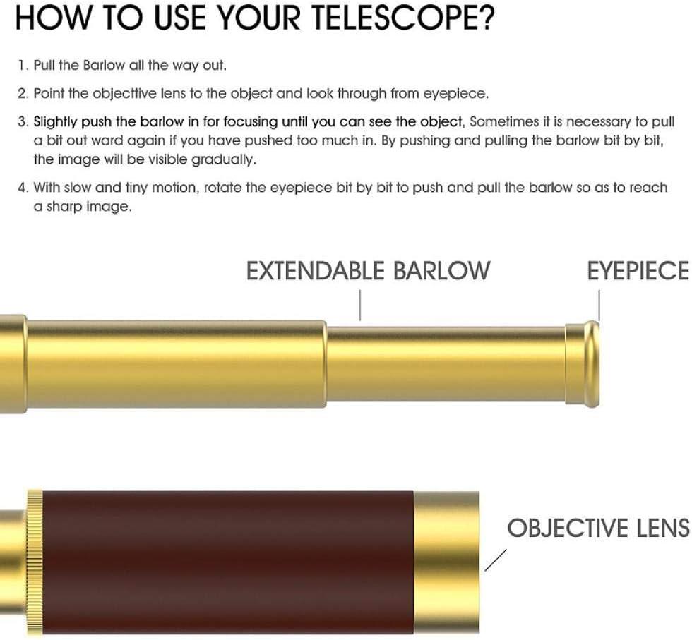 Retro Antique Royal Monocular Portable Telescope monocular Nautical Brass Spyglass and Leather Bag Cooperalloy