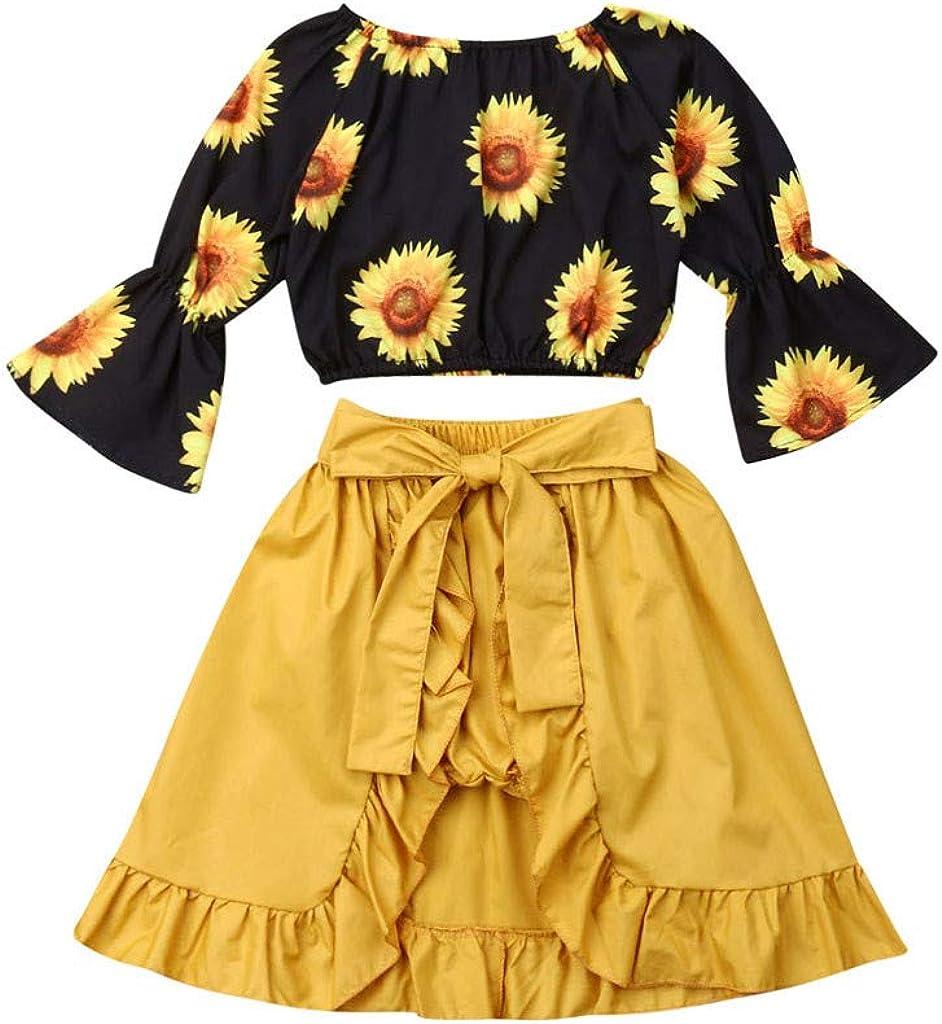 Leoie 2pcs//Set Girl Suit Kids Summer Short Sleeves Shirt Top Bowknot Flower Printing Skirt Yellow 90#