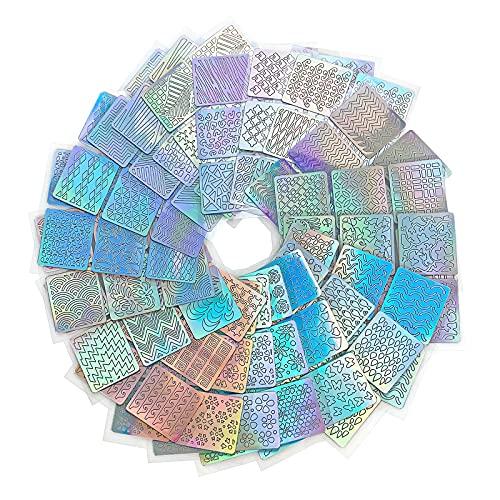 Cooetr Plantilla de Vinilos de Uña 144 Piezas 72 Diseños Diferentes de Hojas Lindas Fáciles de Plantilla de Uñas de Vinilos de Uñas de Arte de Uñas 24 Hojas Uña Pegatina de Decoración de Arte
