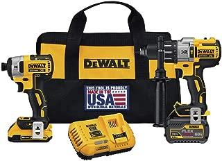 Dewalt DCK299D1T1R 20V MAX FlexVolt Cordless Lithium-Ion Hammer Drill and Impact Driver Combo Kit with 2 Batteries (Renewed)