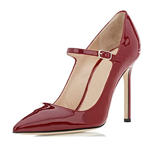e44464aed5a Sammitop Women s Pointed Toe Mary Jane Pumps High Heel Shoe with Ankle Strap