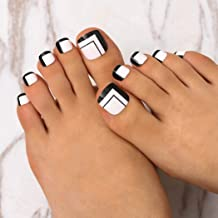 Campsis Glossy Fake Toenails White Black Toe Nails Press on Toenails Acrylic Clip on False Toenails for Women and Girls(Pack of 24)