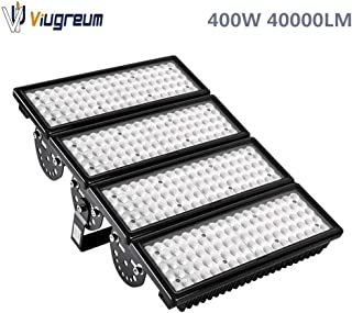 Viugreum 400W LED Flood Lights Outdoor, 40000 Lumen Daylight White 6000K (2000W Equivalent), 60°Beam Angle LED Spot Lights, IP67 Waterproof Stadium Light, Security Work Lights
