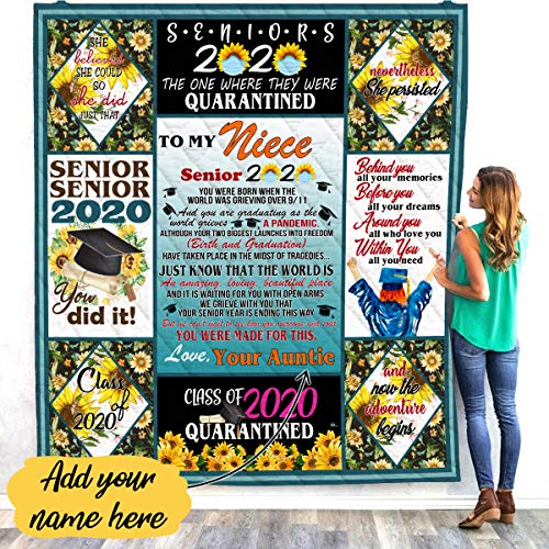 VTH Global Personalized Custom Aunt Auntie Uncle Name to My Niece Senior Class of 2020 Graduation Quarantined Sunflower Fleece Throw Quilt Blanket Twin Queen Size Tapestry Wall Hanging
