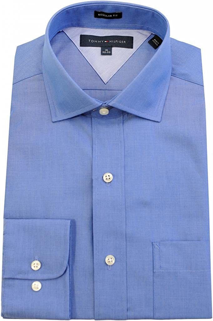 Tommy Hilfiger Men's Regular Fit Spread Collar Dress Shirt