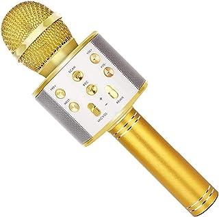 Household Karaoke Microphone, DELFINO Gold Wireless Household Microphone, Aluminum Alloy Shell, Portable Handheld Delicate...