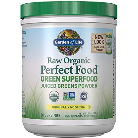 Garden of Life Raw Organic Perfect Food Green Superfood Juiced Greens Powder - Original Stevia-Free, 30 Servings - Non-GMO, Gluten Free Whole Food Dietary Supplement - Alkalize, Detoxify, Energize, 7.3 Oz