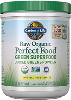 Garden of Life Raw Organic Perfect Food Green Superfood Juiced Greens Powder - Original Stevia-Free, 30 Servings, Non-GMO,...