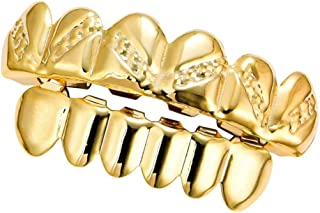 Prettyia Halloween Open Face Grills Tooth Top & Bottom Teeth Glossy Twill Hip Hop Grills for Women Men Party Supplies