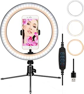 """Ring Light 10""""LED Dimmable Desktop Lamp Makeup Selfie Ring Light with Tripod Stand & Cell Phone Holder for YouTube Video/P..."""