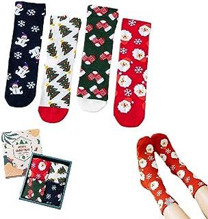 Hengyuan Boîte-Cadeau de 4 Paires de Chaussettes de Noël, Chaussettes de Dessin animé Mignonnes décontractées, Chaussettes...