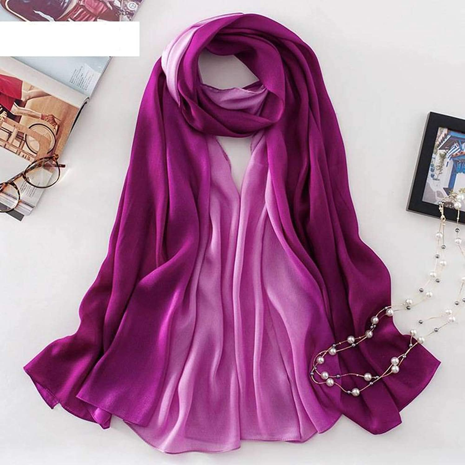 WJS Elegant Ladies Gradient color Polyester Fiber Female Decoration Pure color Medium Long Autumn and Winter Outdoor MultiFunctional Fgreyion Trend Wild Warm Shawl Scarf Gift