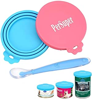 PERSUPER Pet Can Covers Scoop Packaging - 1 Spoon + 2 Pack Universal BPA Free Silicone Pet Food Can Multiple Sizes Lid Covers, One Size Fits All Standard Size Dog and Cat Can Tops