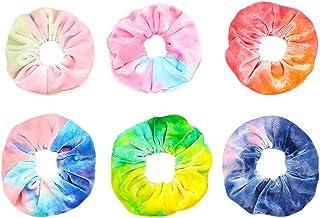 6 PCS Premium Velvet Macaron Theme Gradient Hair Scrunchies Tie Bobbles Girl's Tie Dye Rainbow Hair Bands Scrunchy Hair Ti...