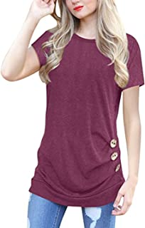 Choha Women's Casual Short Sleeve Round Neck T Shirt Tunic Tops
