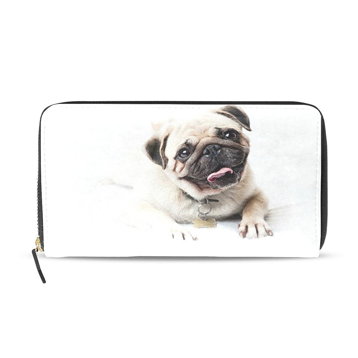 感心するのど広くGORIRA(ゴリラ) パグ 唾を舌 かわいい子犬 倒影 長財布 レディース ダブルサイド印刷 ファスナー開閉式 ウォレット