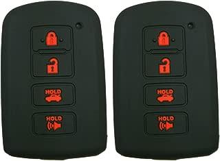 Alegender Qty(2) Black Silicone Smart Key Fob Cover Case Skin Protector Holder for Toyota Highlander RAV4 Camry Avalon Corolla 4 Buttons Smart Key fob Remote