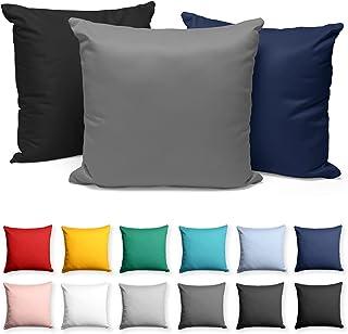 Alreya Lot de 2 Taies d'oreiller en Jersey avec Fermeture Éclair - 60 x 60 cm - Bleu - 100% Coton, Taie d'oreiller, Taies ...