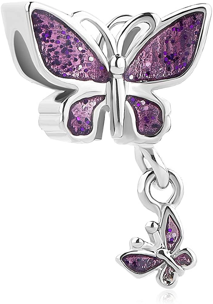 Third Time Charm Dangle Colorful Butterfly Charm Beads for Bracelets