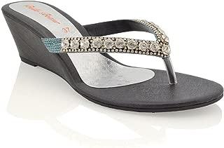 low wedge black sandals uk