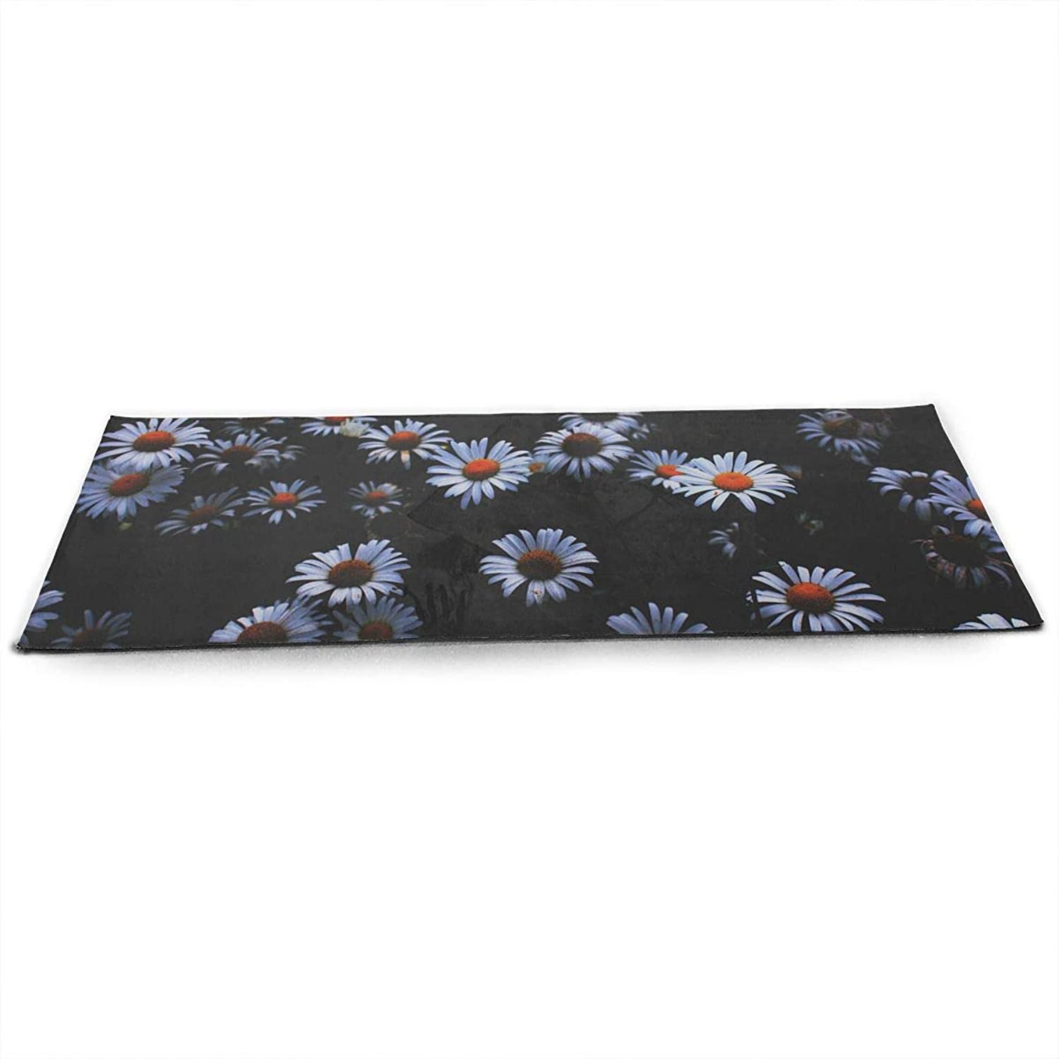 Whages Small White Chrysanthemum NonSlip Soft Advanced Printed Environmental Yoga Mat 31.5   × 51.2