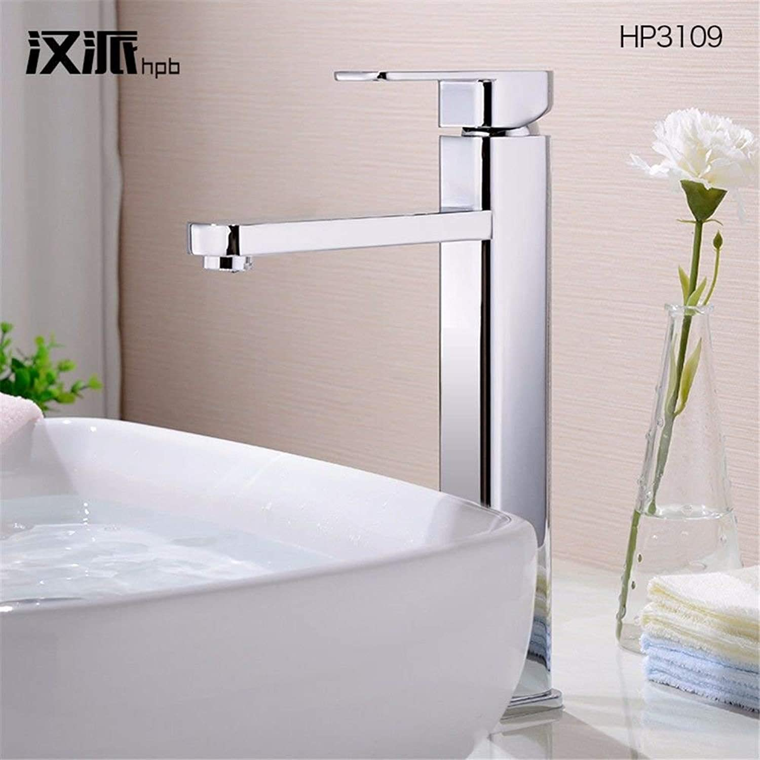 HUAIX home Sink Mixer Tap Bathroom Kitchen Basin Tap Leakproof Save Water Copper Cold And Hot Tub