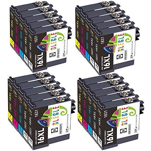 GLEGLE 16XL 16 XL Cartucce Sostituzione per Epson 20 Cartucce Compatibile con Epson Workforce WF-2630WF WF-2510WF WF-2750DWF WF-2530WF WF-2540WF WF-2760DWF WF-2650DWF WF-2660DWF WF-2520NF WF-2010W