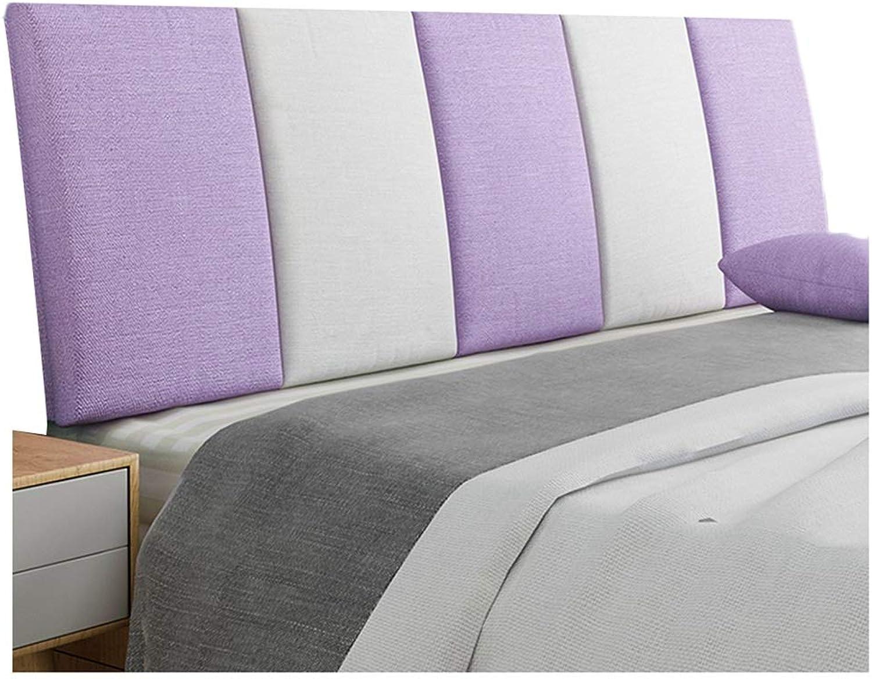 WENZHE Upholstered Fabric Upholstered Headboard Pillow Bedside Cushion Wedges Backrest Waist Pad Flax Cloth Bedside Soft Case Washable Backrest Home Bedroom, 5 colors (color   D, Size   90x55cm)