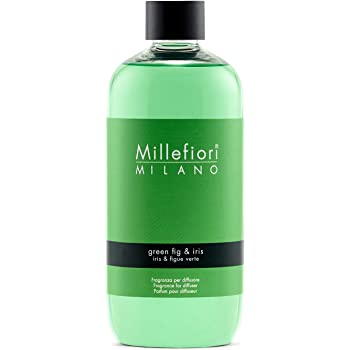 Millefiori Milano Ricarica per Diffusore di Aromi per Ambiente, Fragranza, Green Fig & Iris, 500 ml