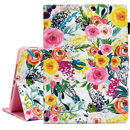 KEROM iPad Mini Case, iPad Mini 2 3 4 5 Case, PU Leather Slim Flip Folio Wallet Case, Smart Cover with Stand and Auto Wake/Sleep, Shockproof Protective Case for iPad Mini 5/4/3/2/1 -Flowers
