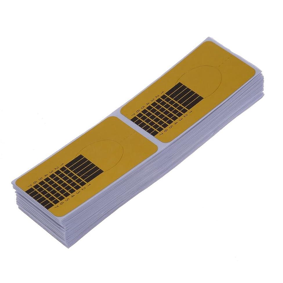 意味優越こどもセンターガイドステッカー,SODIAL(R)100xネイルアートチップ ゴールデン拡張ガイドフォーム DIYツール アクリル系UVジェル
