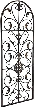 AK Energy Arched Wrought Black Iron Wall Art Sculpture Vintage Tuscan Indoor Outdoor Gate Decor