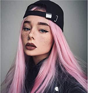 Vedar 2019 Rainbow Colored Flawless Lavender Wigs Ombre Light Purple Hair Synthetic Lace Front Wigs with Black Roots Deep Weave Violet Hair Wigs 22 inch (Hot Pink)