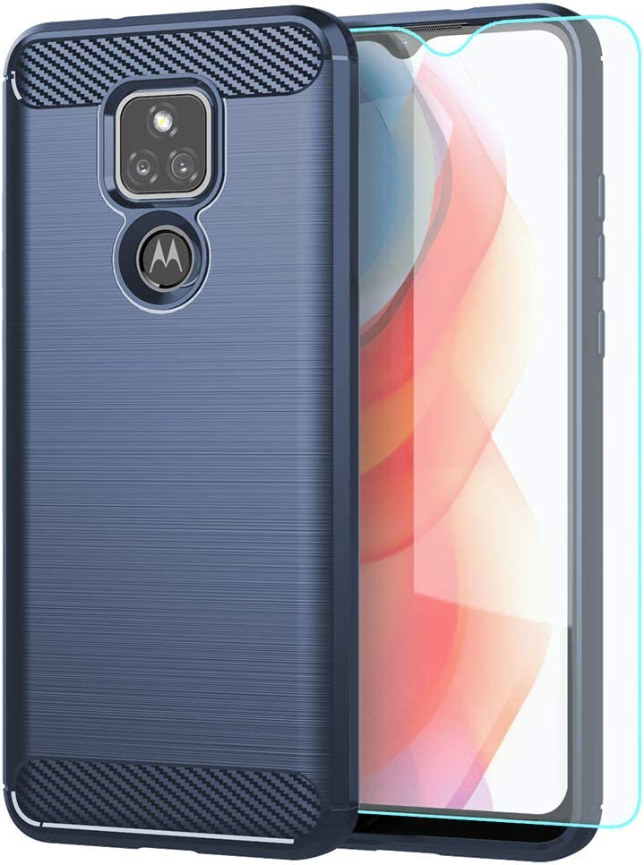 Moto G Play 2021 Case,with HD Screen Protector,Shock-Absorption Flexible TPU Bumper Cove Soft Rubber Protective Case for Motorola Moto G Play 2021 (Blue Brushed TPU)