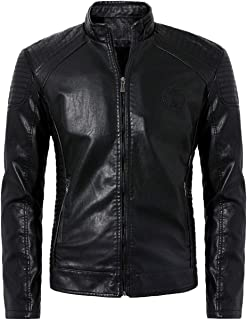NXH® Men's PU Motorcycle Leather Jacket Classic Collar Slim Fit OutwearBlazer L