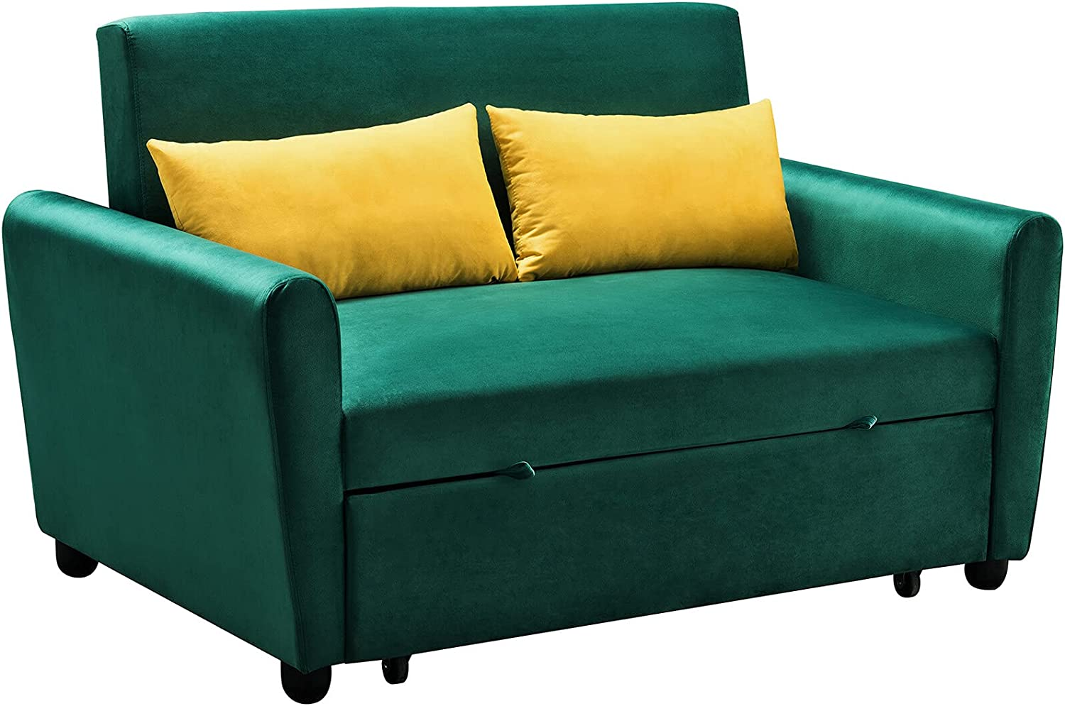 Durable Long-awaited Velvet Large special price !! Sofa with Pull-Out Bed Loveseat wit Couch Sleeper