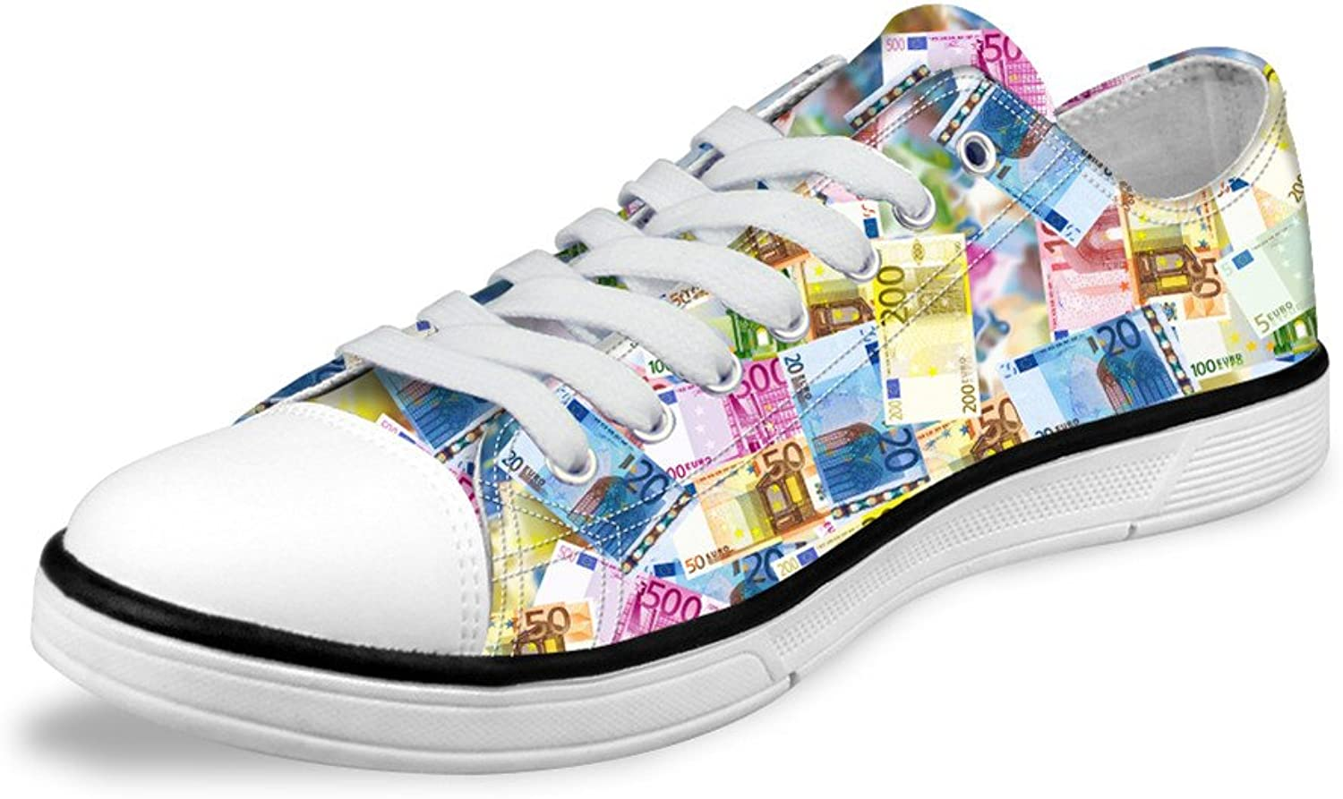 Micandle Stylish Creative Dollars Print Canvas Low-Top shoes for Women Men