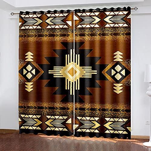 HAOGG Cortina Habitacion Opaca Termica Marrón Patrón Arte Abstracto 300X270Cm 2 Piezas...