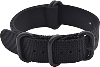 BarRan Knitted Nylon Breathable Waterproof Watch Strap Watch Band with Black Stainless Steel Nato Buckle - Choose Width & ...