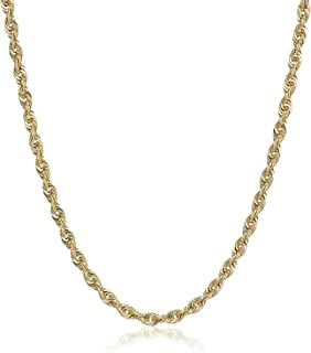 """10K Gold 1.5MM, 2.5MM, 3MM, 3.5MM, 4MM, or 5MM Diamond Cut Rope Chain Necklace, Bracelet, Anklet Unisex Sizes 7""""-30"""" - Yellow, White, or Rose"""