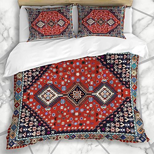 Conjuntos de funda nórdica Cambio vintage Alfombra persa oriental Diseño de interiores tribales Textura Interiors fáciles Texturas Oriental Microfibra suave Dormitorio decorativo con 2 fundas
